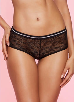 Lurex Elastic Band Lace Boyshort Panty - 3176064874978