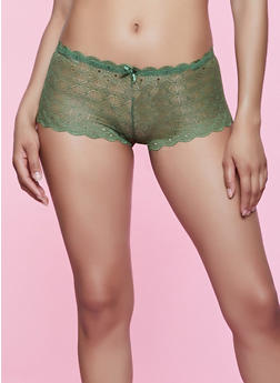 Lace Caged Back Boyshort Panty - 3176064876664