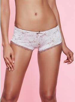 Floral Lace Trim Bikini Panty - 3176064877606