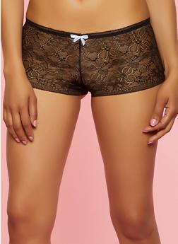 Caged Keyhole Back Lace Boyshort Panty - 3176064879862