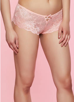 Caged Front Lace Boyshort Panty - 3176068064421