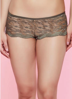 Scalloped Lace Caged Boyshort Panty - 3176068064826