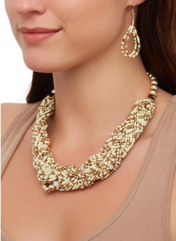 Braided Multi Beaded Collar Necklace with Drop Earrings - 3181074141697