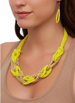 Chain Beaded Loop Necklace and Earrings - 3181074141700