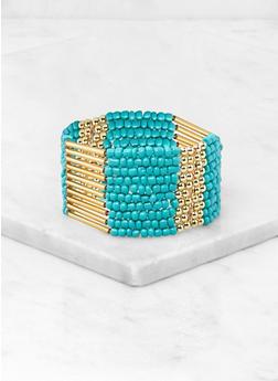 Beaded Metallic Stretch Cuff Bracelet - 3181074141701