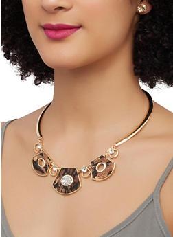 Rhinestone Metallic Necklace with Stud Earrings - 3181074141706