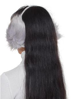 Faux Pearl Furry Earmuffs - 3183067444802