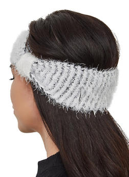 Two Toned Feathered Knit Head Wrap - 3183067444946