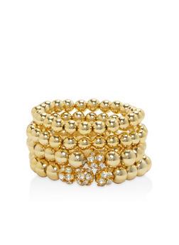 Set of 4 Metallic Rhinestone Stretch Bracelets - 3193003201216