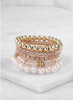 Set of 5 Beaded Stretch Bracelets - 3193003208411