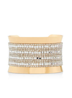 Rhinestone Studded Cuff Bracelet - 3193018436559