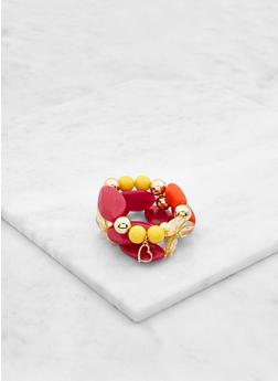 Heart Charm Beaded Stretch Bracelets - 3193035155373