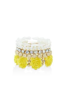 Set of 5 Beaded Stretch Bracelets - 3193035155891