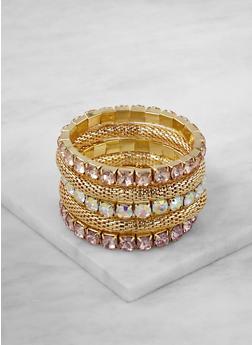 Rhinestone Metallic Mesh Stretch Bracelets - 3193035157450