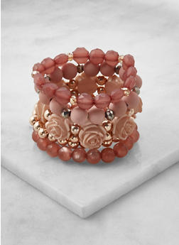 Flower Beaded Stretch Bracelets - 3193035158461