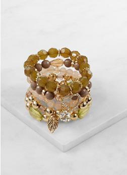 Set of 5 Beaded Charm Bracelets - 3193035158643