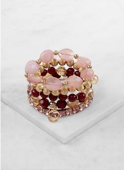 Set of 5 Beaded Stretch Bracelets - 3193035158644