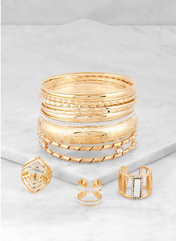 Plus Size Metallic Bangles with Ring Trio - 3193057691007