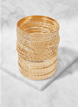 Multi Textured Metallic Bangles Set - 3193057692298