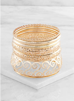 Plus Size Laser Cut Metallic Bangles - 3193057699923