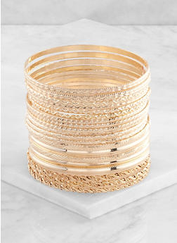 Plus Size 20 Textured Bangles - 3193062810547