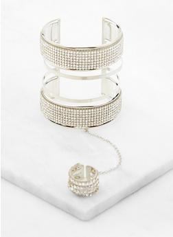 Rhinestone Ring Hand Chain Cuff Bracelet - 3193062810714