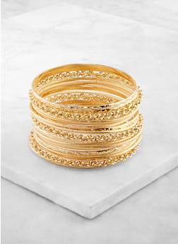 Set of 20 Metallic Assorted Bangles - 3193062812862