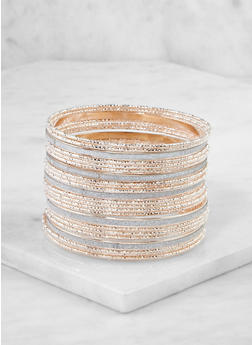 Plus Size Assorted Glitter Bangles Set - 3193062813276
