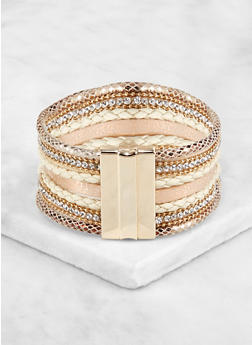 Multi Strap Magnetic Cuff Bracelet - 3193062814641
