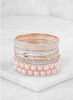 Assorted Metallic Faux Pearl Bracelets - 3193062815004