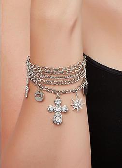 Womens Silver Charm Bracelet