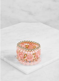 Set of 5 Assorted Beaded Stretch Bracelets - 3193062920455