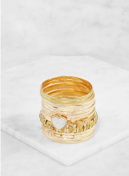 Plus Size Assorted Metallic Glitter Bangles Set - 3193062921318
