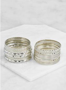 Plus Size Multi Textured Bangles Set - 3193062921334