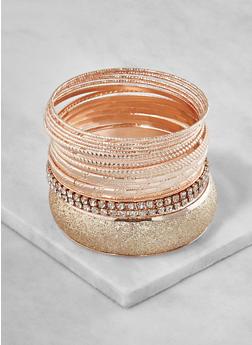 Plus Size Glitter Metallic Bangles - 3193062921508