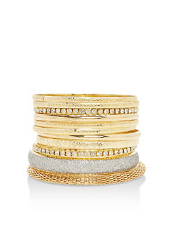 Plus Size Assorted Multi Textured Bangles Set - 3193062921805