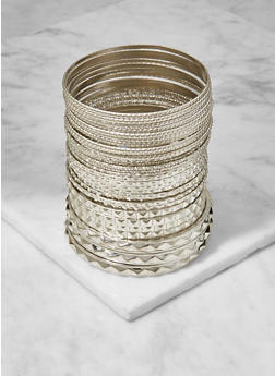 Plus Size Set of Assorted Metallic Bangles - 3193062923342