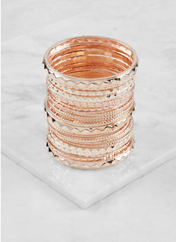 Plus Size Set of Assorted Metallic Bangles - 3193062923342