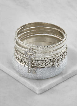 Plus Size Glitter Metallic Bangles - 3193062924624