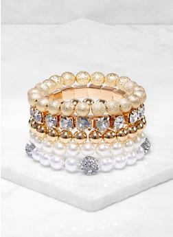 Assorted Faux Pearl Rhinestone Stretch Bracelets - 3193062924752