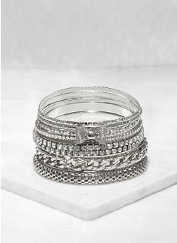 Plus Size Metallic Rhinestone Bangles Set - 3193062924821