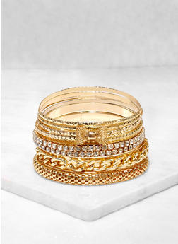 Plus Size Metallic Rhinestone Bangles Set - 3193062924821