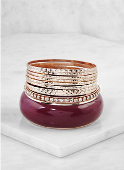 Set of Assorted Metallic Bangles - 3193062927006