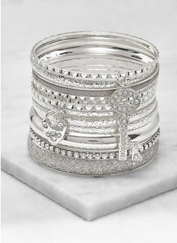 Set of Metallic and Glitter Charm Bangles - 3193062927066