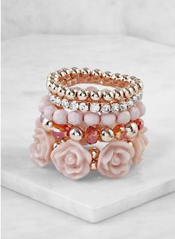 Set of 5 Beaded Stretch Bracelets - 3193071431713