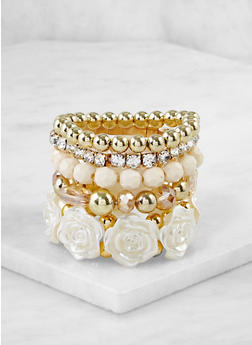 Set of 5 Beaded Stretch Bracelets - 3193071433031