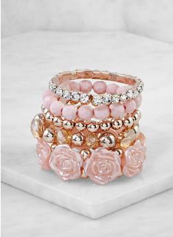 Set of 5 Beaded Stretch Bracelets - 3193071433031