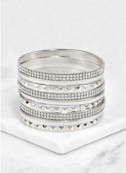 Plus Size Textured Glitter Rhinestone Bangles - 3193072691843