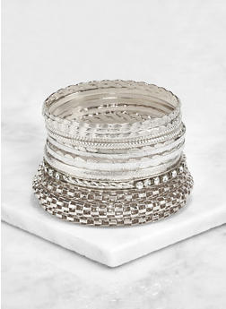 Plus Size Assorted Metallic Bangles Set - 3193072692456