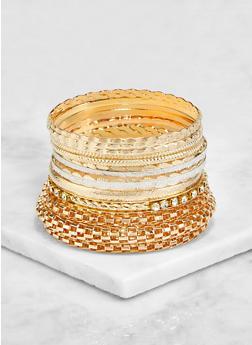 Plus Size Assorted Metallic Bangles Set - 3193072692456
